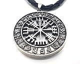 Viking Colgante Vegvisir Brújula vikinga con collar de cuero en bolsa de joyería