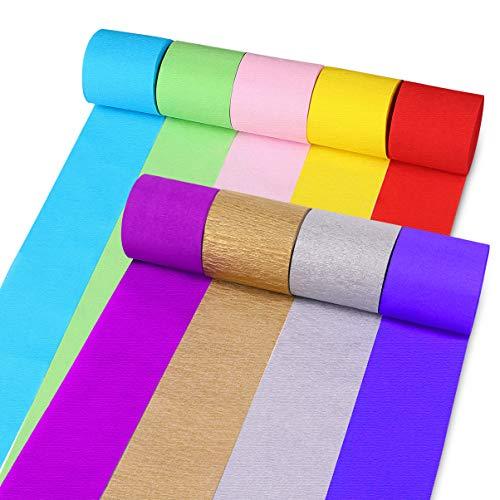 STOBOK 18 Rollos Papel Crepé de 9 Colores 25m x 6 cm Papel pinocho Papel decorativo para cumpleaños, bodas, Halloween, Navidad