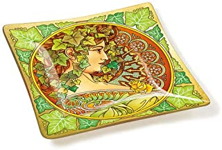Amia Art Nouveau Ivy Handcrafted Glass, Tray Multicolored