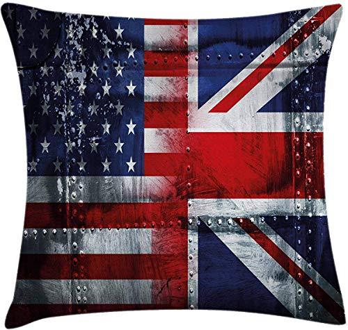 JamirtyRoy1 - Federa per cuscino, motivo: bandiera inglese, stile vintage, 40 x 40 cm, colore: blu navy