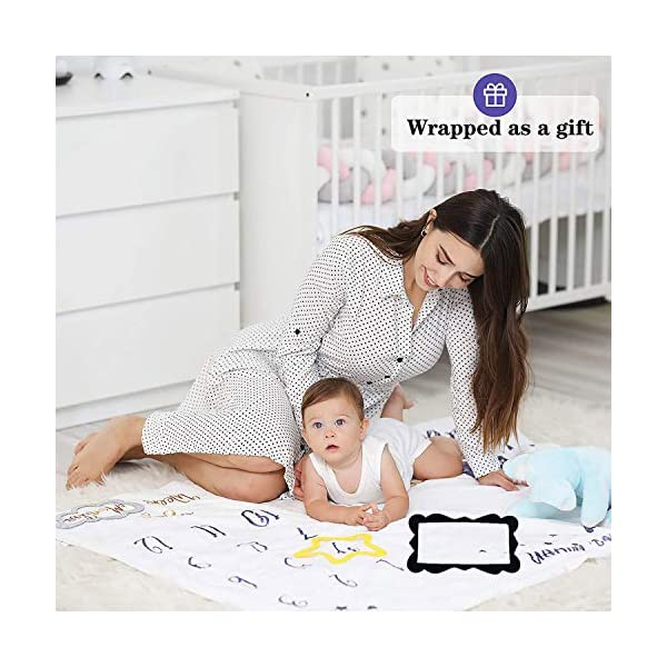 SNOWIE SOFT® Flannel Printed Monthly, 70 X 100cm Soft Blanket,for 0-12 Month Baby 5 51YyI0PTlGL