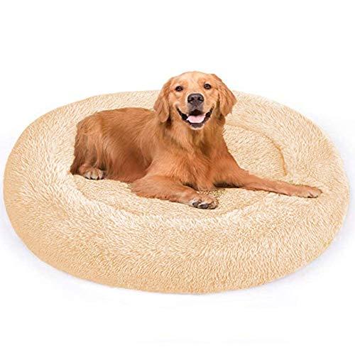 Dog Bed,Plush Anti-Anxiety Older Dog Sofa Bed Donut Cuddler Cushion Extra Large Medium Jumbo Calming Bedding XL Wicker Washable Round Mattress Orthopedic Cave XXL light brown