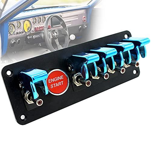 FRIBLSKEL Panel Interruptores Basculantes Anti-UV Interruptor Botón Encendido Motor Universal Modificación Carreras con Relé, Cable, Tornillo para Barco Camionescampista,Azul