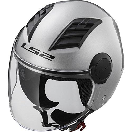 LS2 Of562 Airflow - Casco para moto, Gloss Silver Long, talla L.