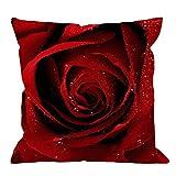 Throw Pillow Case Red Rose Square Cojín Funda de Almohada estándar Sofá Decorativo para el hogar Sillón Dormitorio Sala de Estar 45 * 45cm