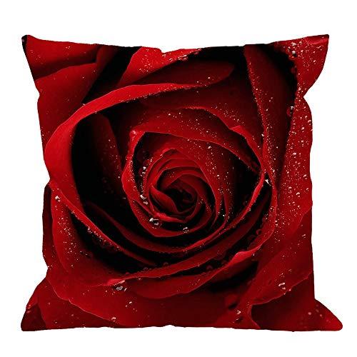 Throw Pillow Case Red Rose Square Cojín Funda de Almohada estándar Sofá Decorativo para el hogar Sillón Dormitorio Sala de Estar 30 * 30cm
