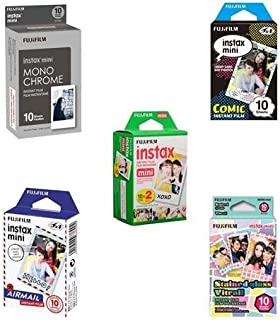 Fujifilm instax mini Film Bundle F Consists of Daylight Film 20 Pack, Airmail 10 Pack, Comic 10 Pack, Stained Glass 10 Pack, Monochrome 10 Pack