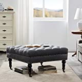Belleze Square Ottoman Large Tufted Button Linen Fabric Bench Foot Nailhead Trim Stool with Rolling Wheels, Charcoal