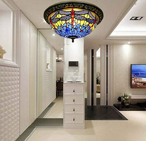 Yjmgrowing Dragonfly glas in lood plafondlamp armatuur voor slaapkamer Tiffany stijl Flush Mount plafondlampen in handgemaakte ingang gang decor verlichting, 110-240V, E27