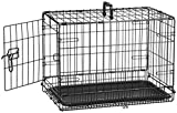 AmazonBasics Single-Door & Double-Door Folding Metal Dog or Pet Crate Kennel with Tray, 22...