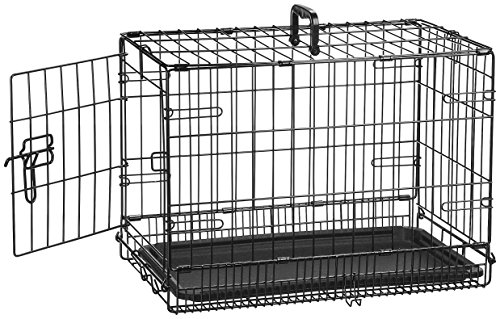 AmazonBasics Single Door Folding Metal Crate Kennel For Dog or Puppy - 22 x 13 x 16 Inches