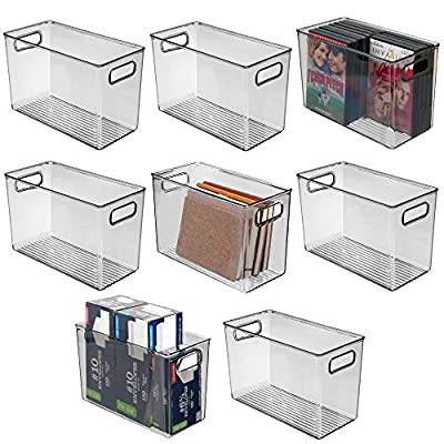 """mDesign Deep Plastic Home Storage Organizer Bin for Cube Furniture Shelving in Office, Entryway, Closet, Cabinet, Bedroom, Laundry Room, Nursery, Kids Toy Room - 12"""" x 6"""" x 7.75"""" - 8 Pack - Smoke Gray"""
