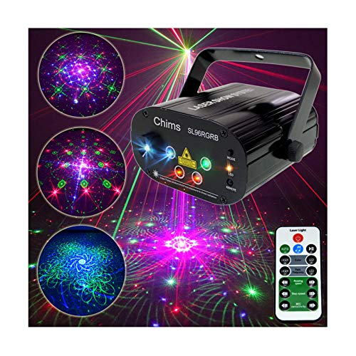 Chims DJ Laser Light Show Projector Red Green Blue Laser with LED 96 Patterns RGRB Music Sound Activated Lighting Projector for Christmas Halloween Party Holiday Festival Gift Family Party Disco Xmas