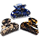 FSMILING Medium Hair Claw Clips For Thick Hair,2 3/4' Nonslip Claw Hair Clips For Women Thin Hair,Celluloid Tortoise Hair Clip Jaw Claw Clamp Clutcher,3 Color Available (3 Packs)