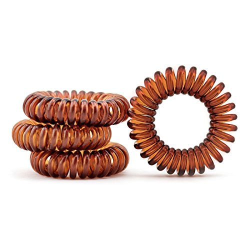 Capelli gomma (spirale plastica), cavo telefonico, elastici, ornamenti per i capelli set di 4, di colore marrone, dal marchio MyBeautyworld24