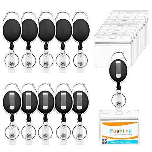 Fushing 10Pack einziehbare Ausweishalter, durchsichtige horizontale Ausweishalter aus wasserdichtem Kunststoff ID-Karten-Namensschildhalter mit einziehbarer Karabiner-Gürtelclip-Rolle(Horizontal)