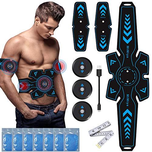 MiMiya Elettrostimolatore per Addominali Elettrostimolatore Muscolare ABS Stimulator per Braccio/Gambe/Waist/Glutei con USB Ricaricabile, 6 modalità e 9 Livelli di Intensità 14PCs Gel Pezzi (7 Pacco)