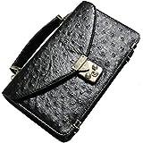 ブラック 長財布 メンズ 財布 バッグ 一体型 本革 財布カバン 大型 大きい 大容量 サイフ クラッチバッグ オーストリッチ 1050892-F-003