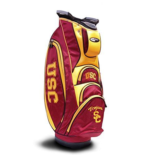 Team Golf NCAA USC Trojans Victory Golf Cart Bag 10way Top with Integrated Dual Handle amp External Putter Well Cooler Pocket Padded Strap Umbrella Holder amp Removable Rain Hood
