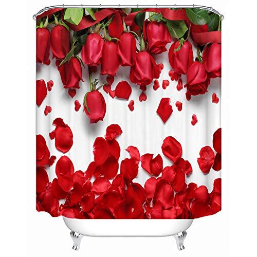 Red Fire Wasserdicht Stoff Duschvorhang Liner Digitaldruck Verdeckt Badewanne Badezimmer Dusche Gardinen inkl. 12Haken Anti Rost 180,3x 182,9cm. 71x78.5 inch Mehrfarbig 2