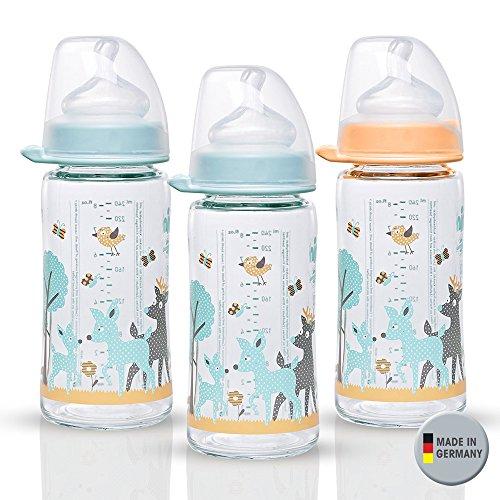 Nip Lo Bouteille en verre bouteille en verre & Crème Mix/menthe/Lot de 3//bébé Bouteille en verre/240 ml/avec gourde Auger Lo anatomique, Silicone, Taille 0 +, Lait