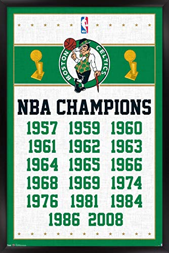 Trends International NBA Boston Celtics - Champions 13 Wall Poster, 14.725' x 22.375', Black Framed Version