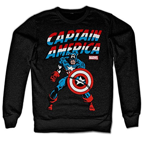 Marvel Comics Captain America Sweatshirt (Noir), Large