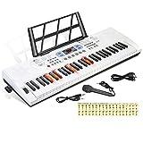 Hricane Teclado de piano de 61 teclas con micrófono, notas de...