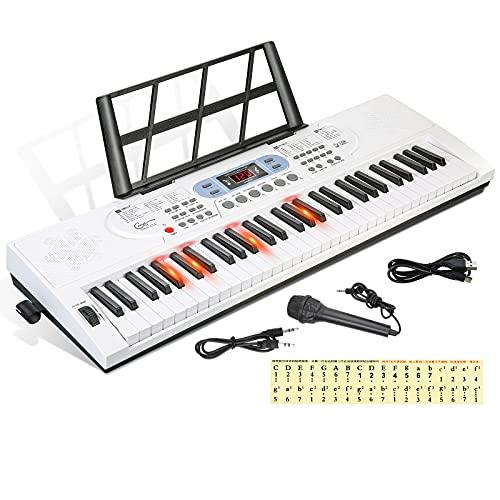 Hricane Tastiera digitale a 61 tasti, con microfono, note di pianoforte, adesivo di alimentazione, leggio elettronico, regalo per principianti, ragazzi, ragazze, adulti, uomini e donne
