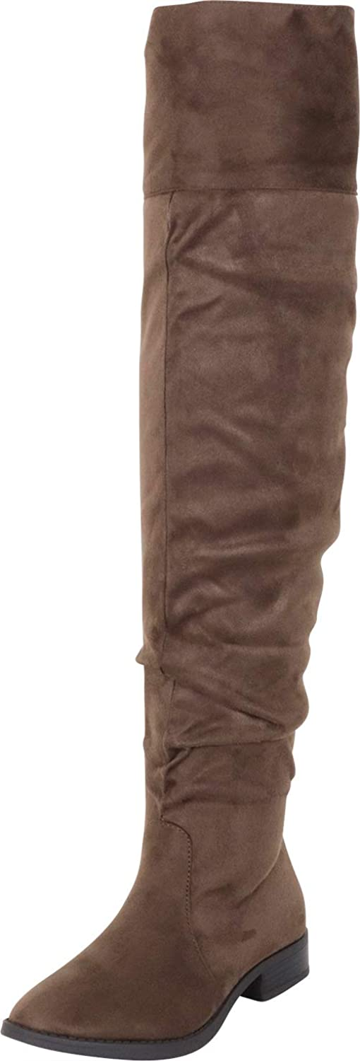 Cambridge Select Women's Thigh-High Slouch Foldover Cuff Low Heel Over The Knee Boot