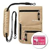 Travel Neck Pouch Hidden Passport Holder Wallet RFID Blocking/Neck Stash for Men Women (Khaki)