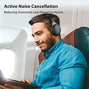 Avantree Aria Pro aptX-HD Bluetooth 5.0 Active Noise Cancelling Headphones Headset with Boom Mic for Hi-Fi Music Calls, Low Latency, Over Ear Wireless & Wired 2-in-1 for Phone PC Computer Laptop VOIP