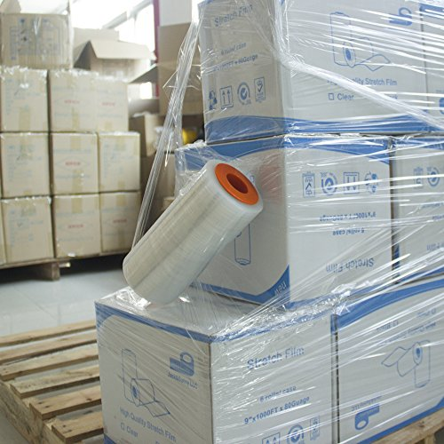 Industrial Strength Mini Hand Stretch Wrap Film 9' -1000ft - 80 Gauge(20 Micron) Clear Cling Commercial Plastic Pallet Supplies Shrink Mini Wrap with Dispenser for Moving Shipping 1 roll
