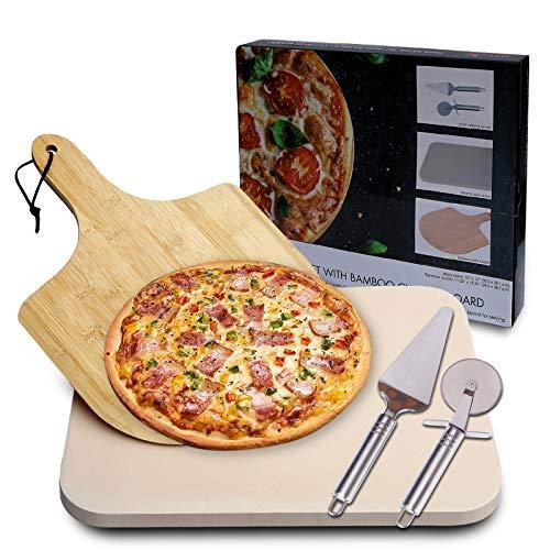 MAYUTU Piedra refractaria para pizza de horno con pala de bambú/rueda cortapizza/pala...