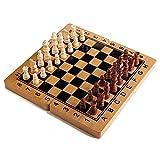 Juego de ajedrez magnético portátil de Madera(15 x 15 Pulgadas),Tablero de ajedrez de Viaje Plegable,Transporte ETO,Duradero y Resistente a los arañazos,Juego de Mesa de Piezas Hechas a Mano