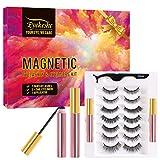 EYEKESHE Pestañas Postizas Magneticas Naturales Incluir Delineador de Ojos y Rizador de Pestañas, Cómodo Impermeable Reutilizable, Adecuado para Maquillaje Carnaval, Boda, Fiesta (7 Pares)