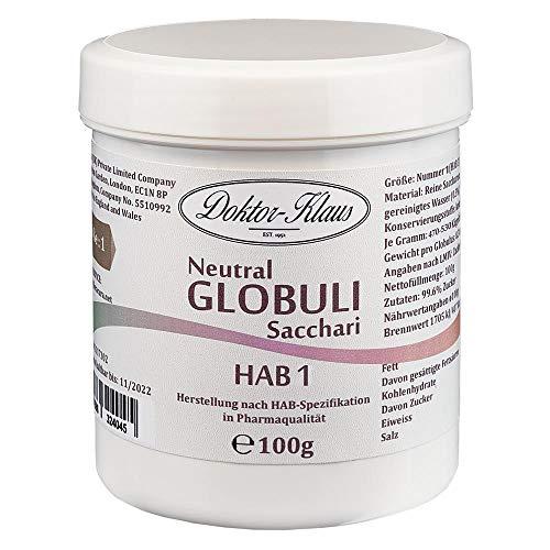 100g Neutral Globuli HAB 1, Doktor-Klaus, reine Saccharose, in weisser Kapselbox