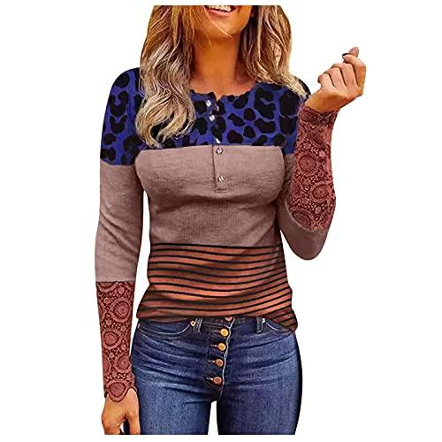SHOBDW Barato Suéter Mujer Sexy 1/4 Botones Leopardo Contraste Color Slim Fit Pullover Camiseta Manga Larga Encaje Sweatshirt Primavera Otoño Mujer Liquidación Venta(Azul,S)