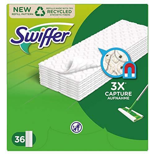 Swiffer Bodenwischer Boden Staubtücher Nachfüllpack 36 Tücher, nimmt 3x mehr Staub & Haare auf und schließt diese ein im Vgl. zu einem herkömmlicher Besen