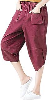 Donna Tagliato 3//4 Lino Capri Vita Elasticizzata Pantaloni Pantalone Estivo Taglia