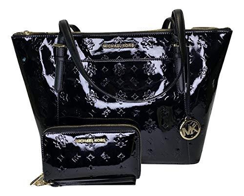 MICHAEL Michael Kors Ciara Large East West TZ Tote bundled with Large Flat MF Phone Case Wallet Wristlet (Black Mirror Metallic Monogram)