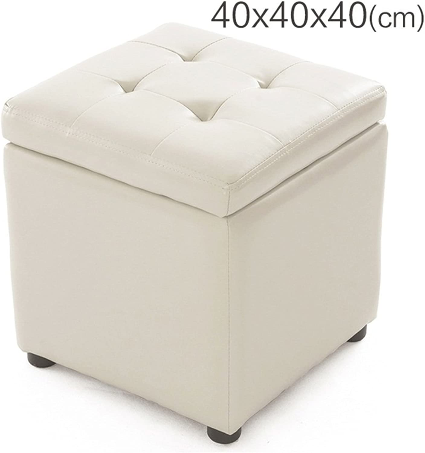 Solid Wood ,PU Storage Stool, Low Stool, Sofa Stool, shoes Bench, Stool Simple Modern White (Size   2(40  40  40cm))