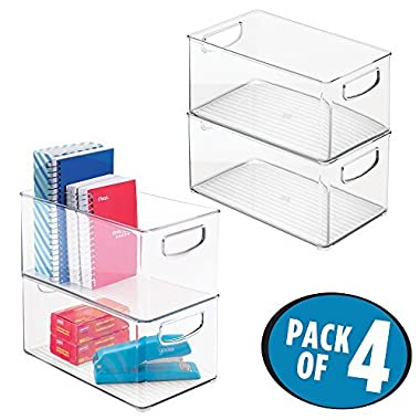 mDesign Office Organizer Bins for Pens, Pencils, Note Pads, Staples, Tape - Pack of 4, 10  x 6  x 5 , Clear