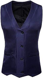 MU2M Men V-Neck Fashion Single Breast Dress Vest Waistcoat for Suit Tuxedo