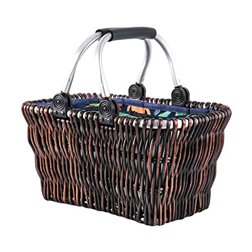 Picnic Basket with Blanket Portable Rattan Wicker Insulation Box Camping BBQ Food Storage Basket 2 Person Picnic Basket-Aluminum Handle