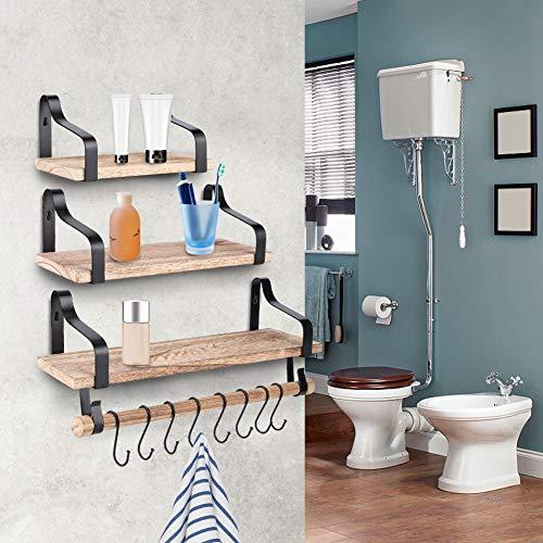 Estantería de pared flotante con 3 estantes, estilo vintage, para baño, cocina, almacenamiento de especias