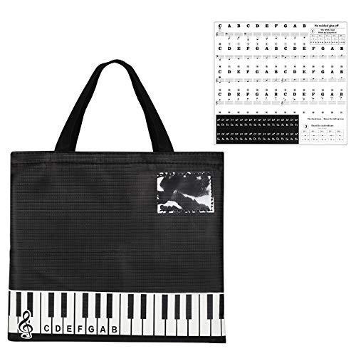 JOOPOM Schwarz Musik Notentasche, Musiktasche mit Klaviertastatur Aufkleber Student Musikunterricht für Noten Bücher Dokumente Schreibwaren (45.5 x 35.5cm)