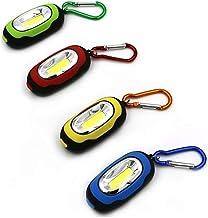 Draagbare mini sleutelhanger zaklamp 3 modi cob led licht zaklamp multicolor mini zaklamp met knop batterij, rood
