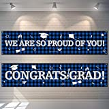 2 Pancartas Telón de Fondo de Fiesta de Graduación Bandera Colgantes de Cuadros de Búfalo Bandera de Señal de Congrats Grad de Tela Grande Fondo de We are So Proud of You (Azul)