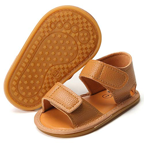 Timatego Baby Boys Girls Sandals Non Slip Soft Sole Outdoor Athletic Shoes Infant Toddler First Walker Crib Summer Shoes 3-18 Months, 00 Brown, Baby Sandals 6-12 Months Infant
